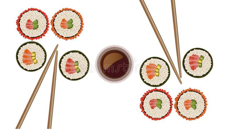 Ejemplo plano del vector del estilo de la opinión superior de rollos de sushi ilustración del vector