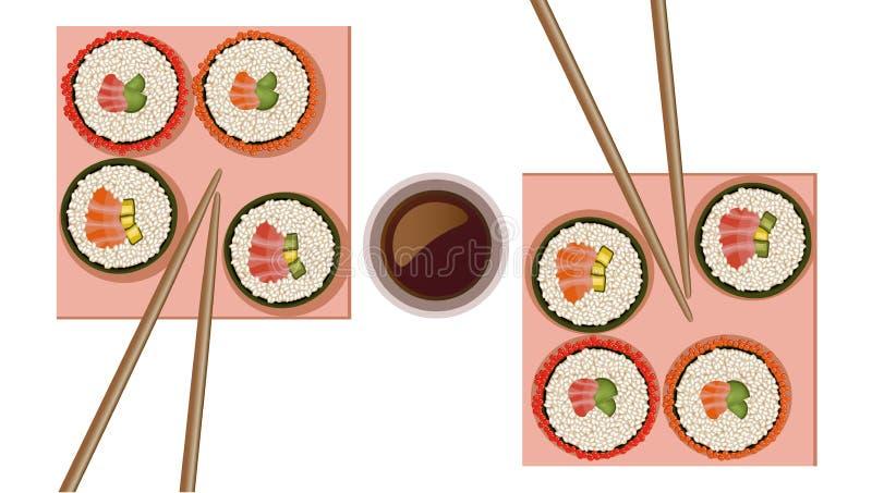 Ejemplo plano del vector del estilo de la opinión superior de rollos de sushi libre illustration