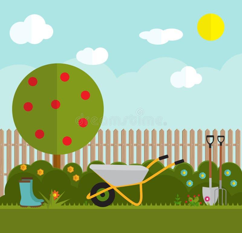 Ejemplo plano del vector del fondo que cultiva un huerto Utensilios de jardinería, Tre libre illustration