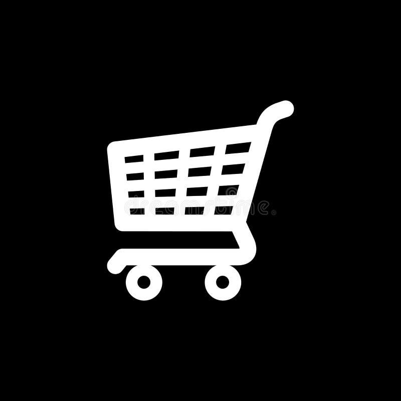 Ejemplo plano del vector del icono de la carretilla de la cesta de compras stock de ilustración