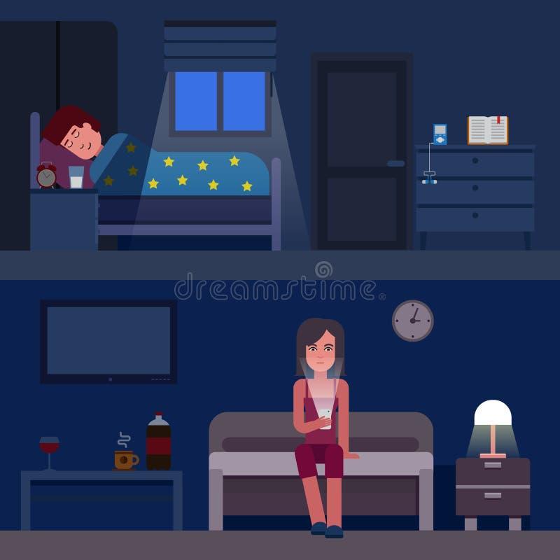 Ejemplo plano del vector del infographics del tiempo de sueño Infographic cómo conseguir un mejor sueño Insomnio y buen sueño pla ilustración del vector