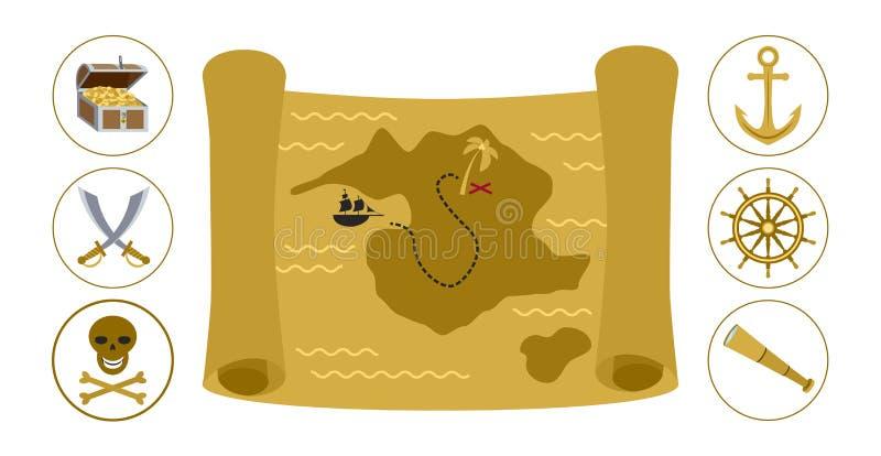 Ejemplo plano del vector del mapa del tesoro stock de ilustración
