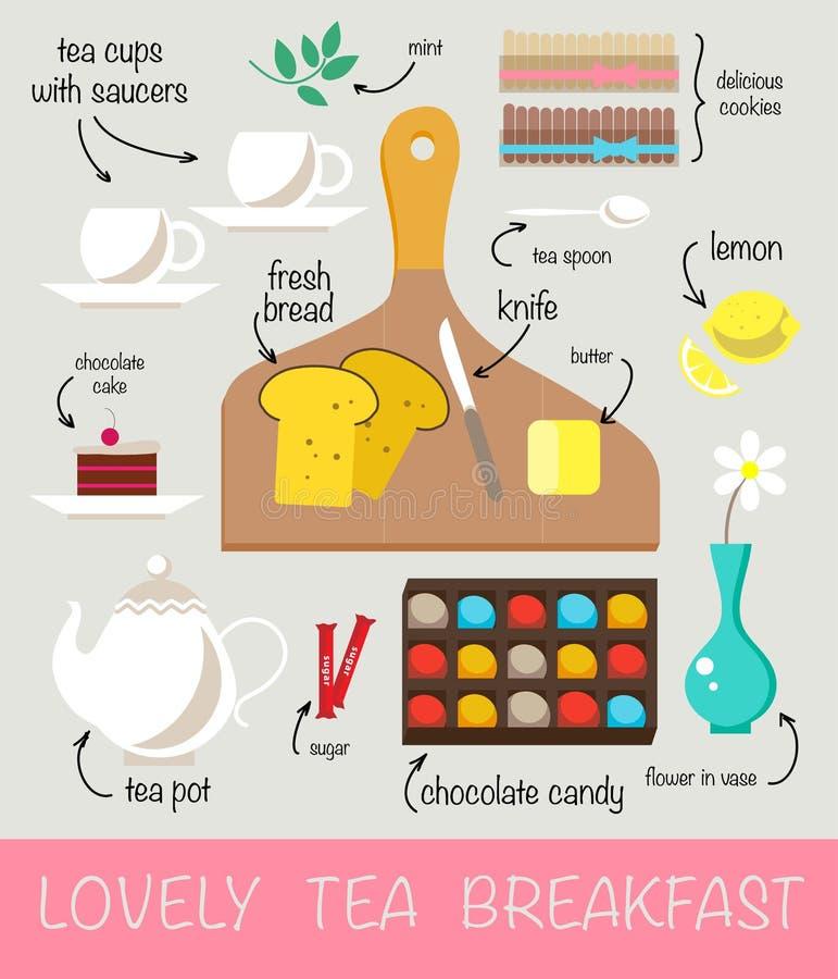 Ejemplo plano del vector del té delicioso clasificado y firmado de la mañana stock de ilustración