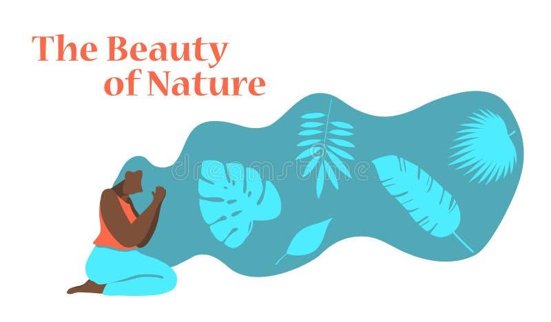 Ejemplo plano del vector del diseño de la mujer afroamericana con el pelo hermoso Cuidado natural del pelo y del cuerpo, belleza, stock de ilustración