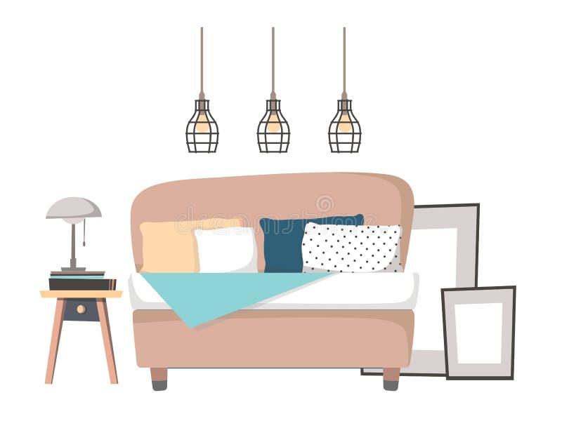 Ejemplo plano del vector - diseño interior casero Wi acogedores del dormitorio stock de ilustración