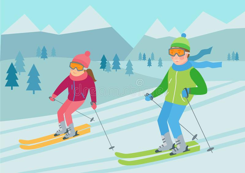 Ejemplo plano del vector del esquí de los pares ilustración del vector