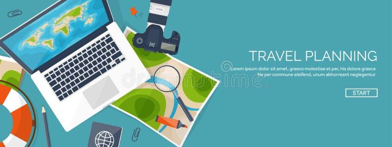 Ejemplo plano del vector del estilo del viaje y del turismo Mapa y globo de la tierra del mundo Viaje del viaje del viaje, vacaci stock de ilustración