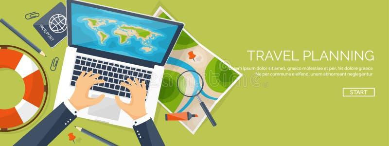 Ejemplo plano del vector del estilo del viaje y del turismo Mapa y globo de la tierra del mundo Viaje del viaje del viaje, vacaci ilustración del vector