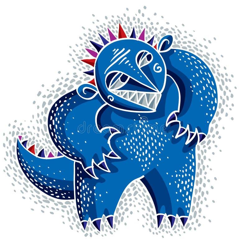 Ejemplo plano del vector extraño del monstruo del carácter, azul lindo MU ilustración del vector