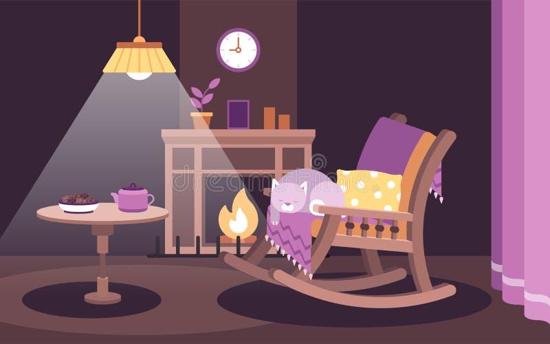 Ejemplo plano del vector del humor del hygge un gato que duerme en una mecedora cerca de la chimenea stock de ilustración