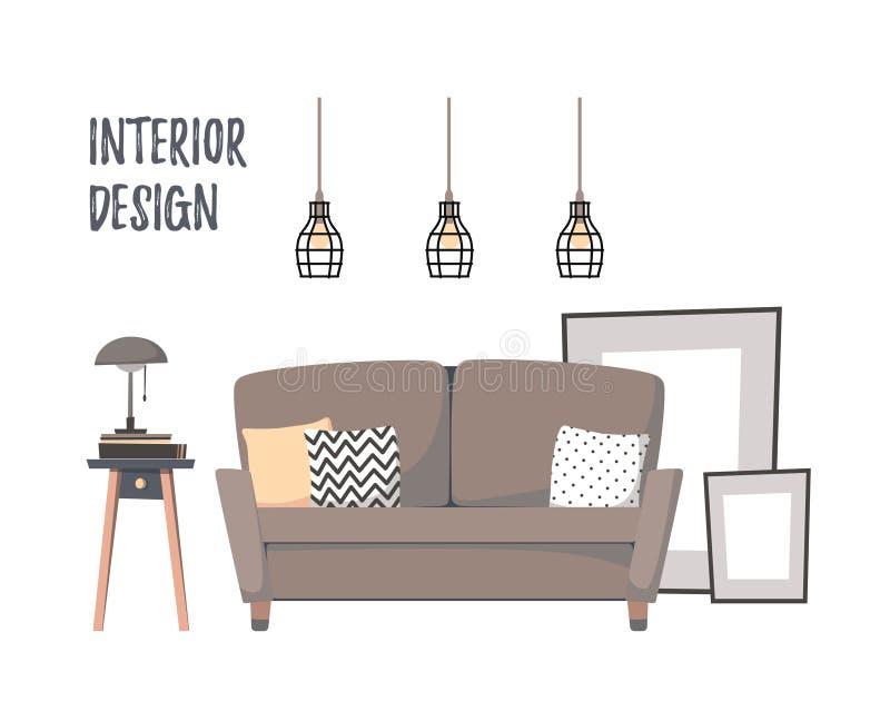 Ejemplo plano del vector - interior casero Sala de estar ozy del ¡de Ð con stock de ilustración