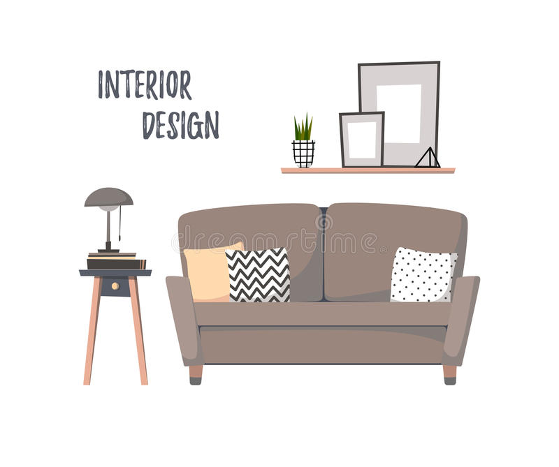 Ejemplo plano del vector - interior casero Sala de estar ozy del ¡de Ð con ilustración del vector