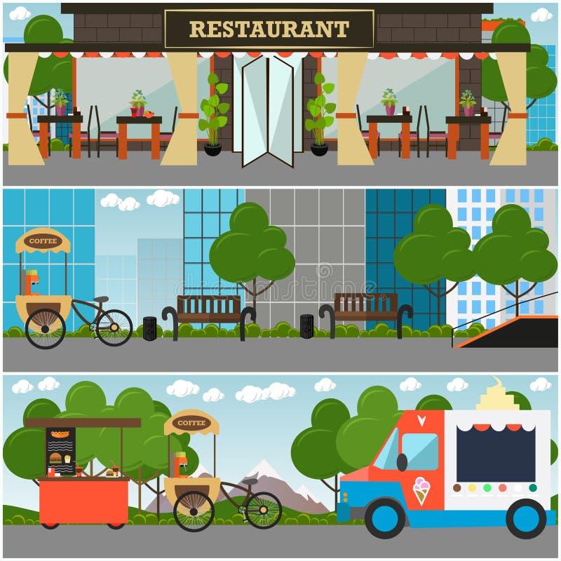 Ejemplo plano del vector interior de la comida de la calle y del establecimiento de la bebida ilustración del vector
