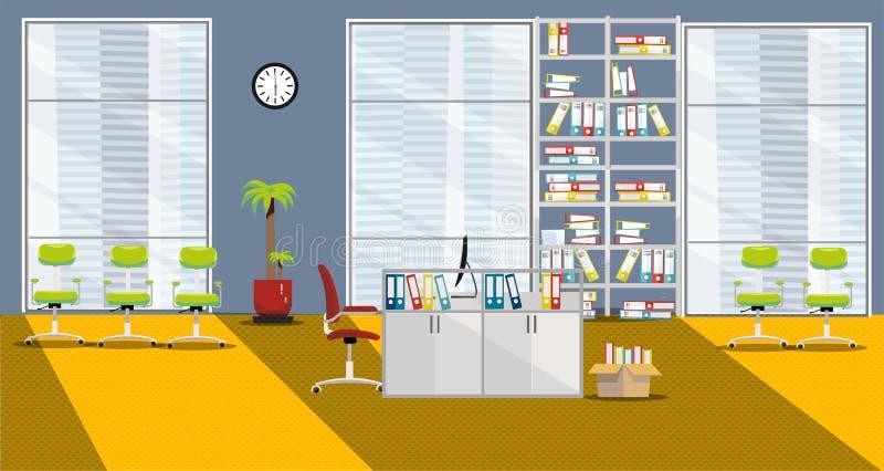 Ejemplo plano del vector del interior moderno del gabinete con 1 tabla y 3 ventanas grandes en rascacielos en colores anaranjado- libre illustration