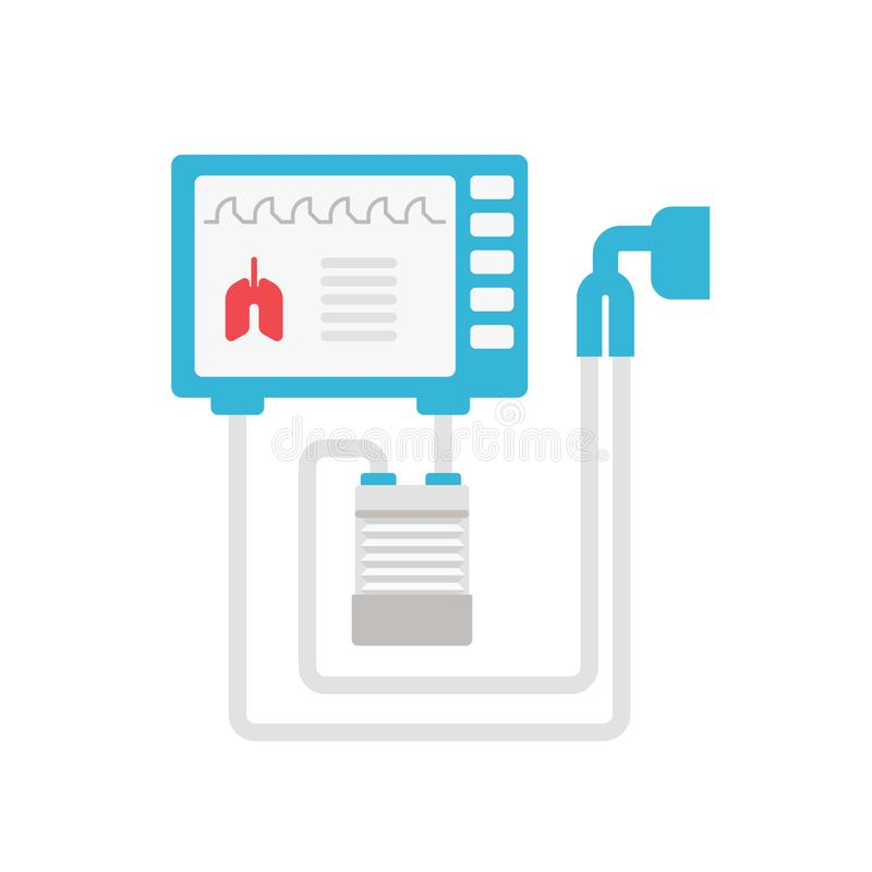 Ejemplo plano del vector médico del ventilador aislado en el fondo blanco Icono mecánico del respirador para médico stock de ilustración