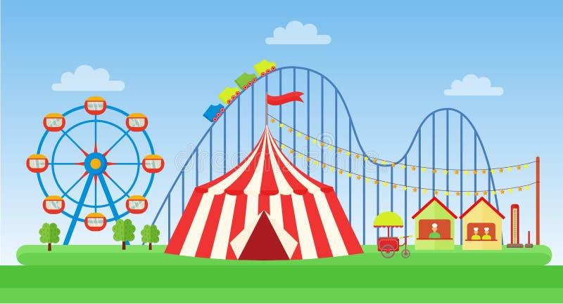 Ejemplo plano del vector del parque de atracciones clásico libre illustration