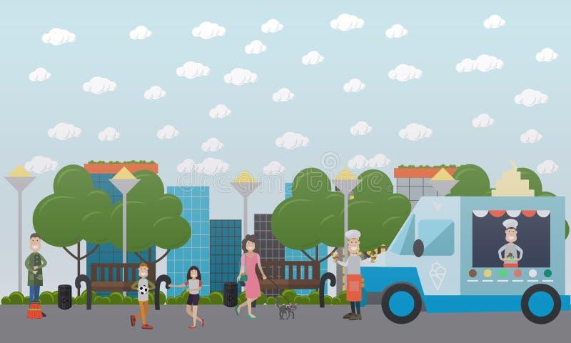 Ejemplo plano del vector del parque público de la ciudad ilustración del vector