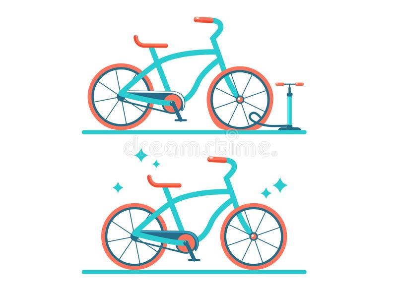 Ejemplo plano del vector retro de la bicicleta Sistema de dos bicicletas ilustración del vector