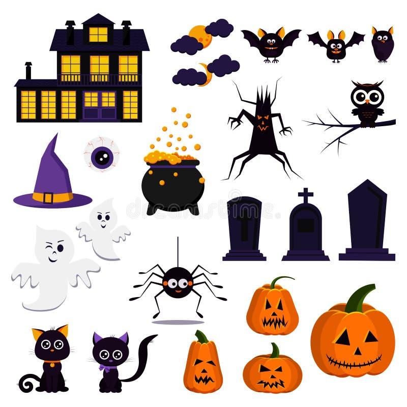 Ejemplo plano del vector del sistema del icono del feliz Halloween del diseño de la historieta stock de ilustración