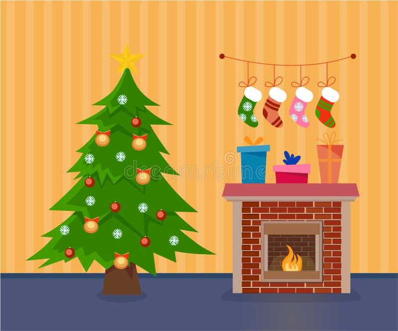 Ejemplo plano del vector del sitio de la Navidad del estilo de la historieta stock de ilustración