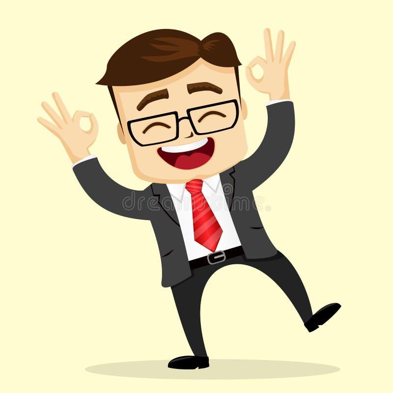 Ejemplo plano del vector Sonrisa del hombre de negocios o del encargado Hombre feliz libre illustration