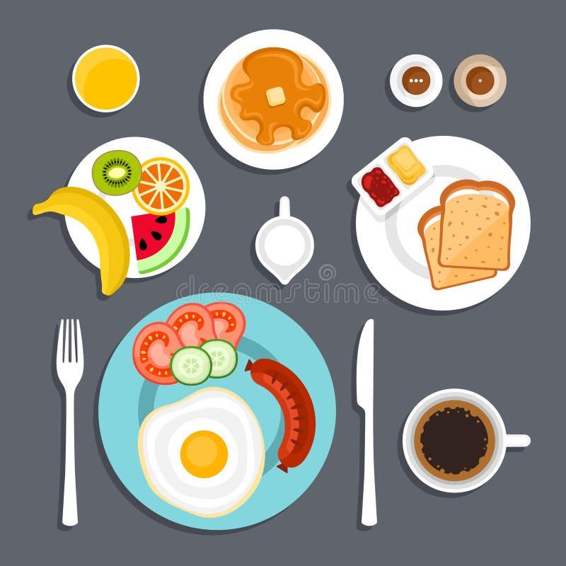 Ejemplo plano determinado del desayuno ilustración del vector