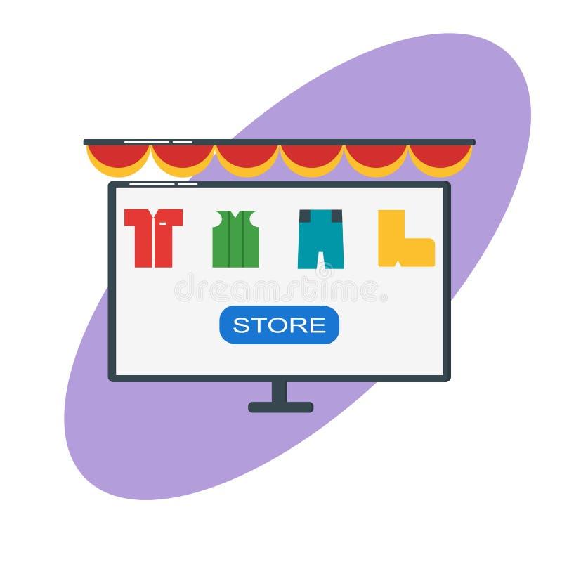 Ejemplo plano en línea del diseño del concepto del ordenador que hace compras - ejemplo del vector - vector ilustración del vector