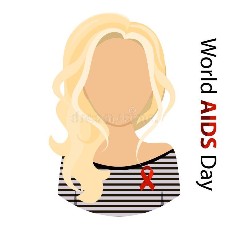 Ejemplo plano femenino del vector de la cinta de la mujer de los mundos de la conciencia SIDA roja del día libre illustration