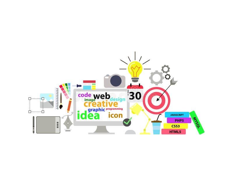 Ejemplo plano gráfico del diseño de la tecnología del concepto medios stock de ilustración