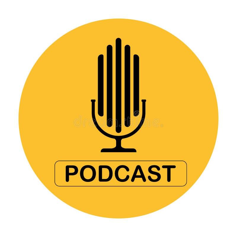 Ejemplo plano hecho un podcast del vector, icono, diseño del logotipo en un fondo blanco En el círculo amarillo ilustración del vector