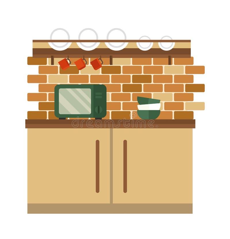 Ejemplo plano interior del vector del estilo de la cocina ilustración del vector