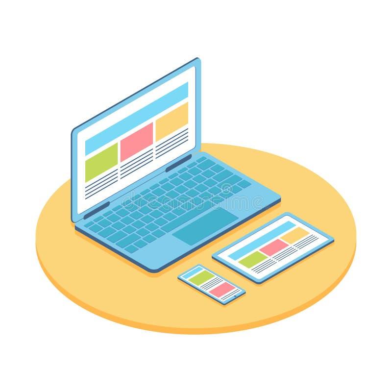 Ejemplo plano isométrico del ordenador, del teléfono y de la tableta stock de ilustración
