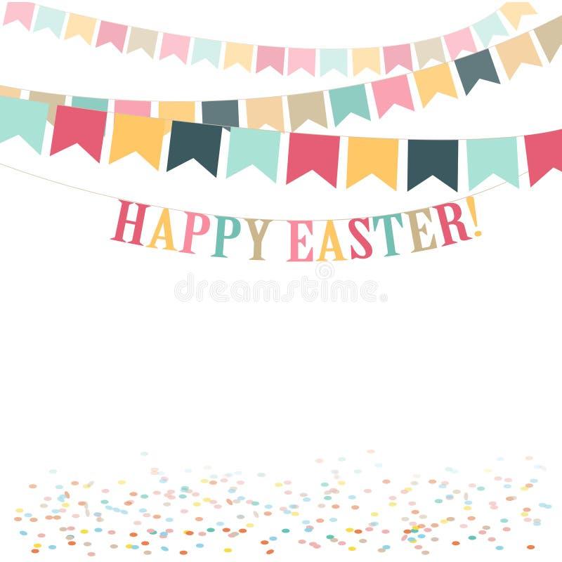 Ejemplo plano lindo del día feliz mínimo retro de Pascua Fondo para la tarjeta de felicitación, anuncio, promoción, cartel Copie  libre illustration