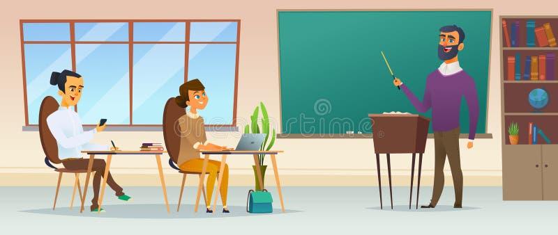Ejemplo plano moderno conceptual del proceso educativo Alumnos en la sala de clase La gente joven escucha el profesor ilustración del vector