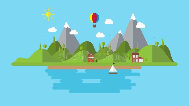 Ejemplo plano moderno del paisaje del vector con el barco y las colinas de casa fondo del paisaje de la costa del día de fiesta imágenes de archivo libres de regalías