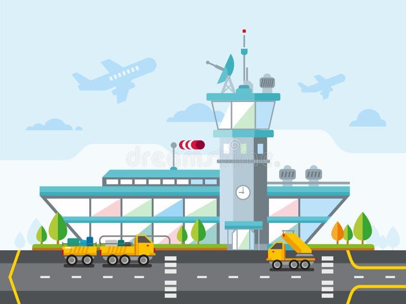 Ejemplo plano moderno del vector del diseño del aeropuerto libre illustration