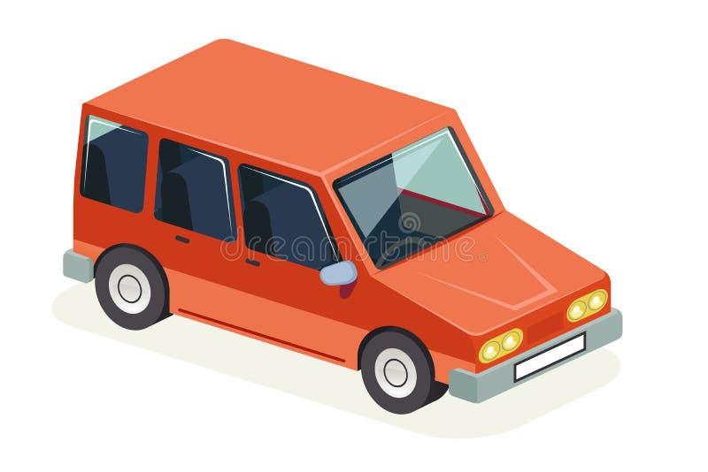 Ejemplo plano retro elegante del vector del diseño del coche del vehículo del transporte del diseño isométrico del icono libre illustration