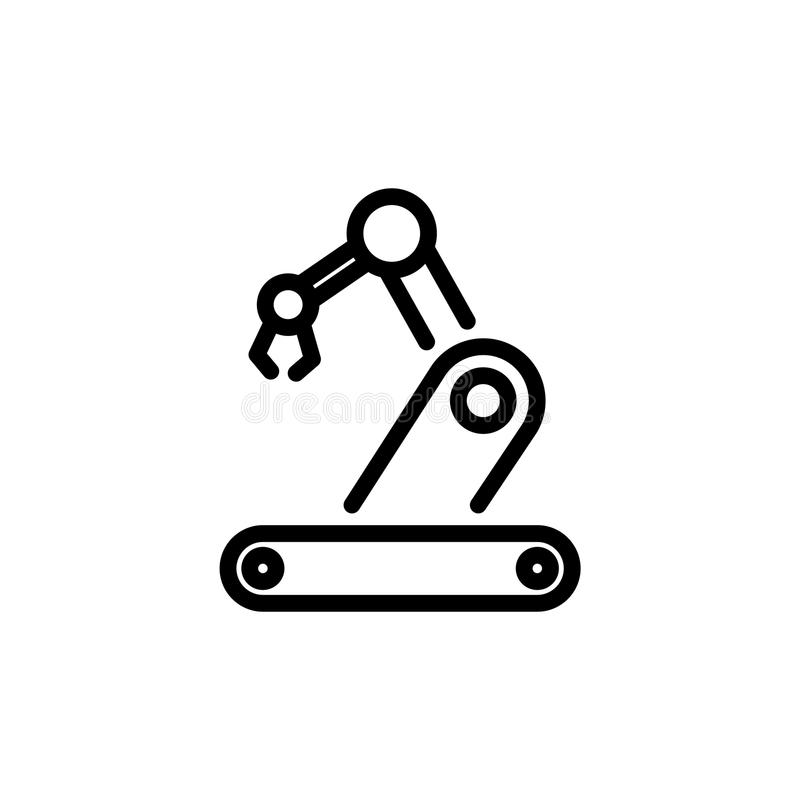 Ejemplo plano simple del esquema del estilo del icono de la robótica stock de ilustración