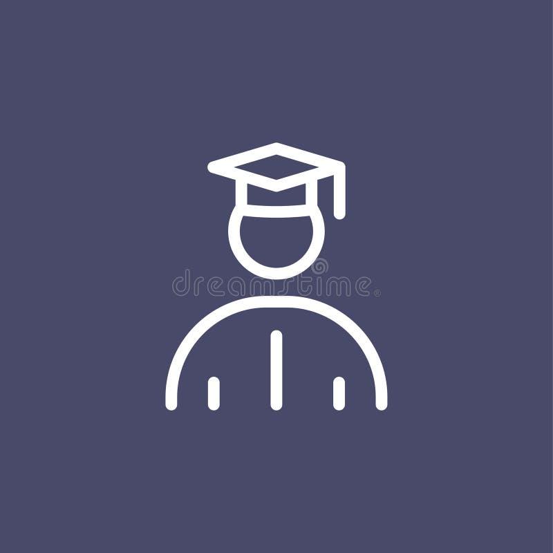 Ejemplo plano simple del esquema del estilo del icono del estudiante graduado libre illustration