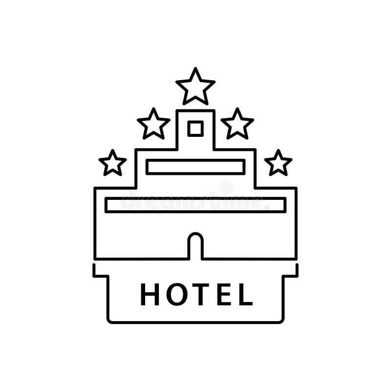 Ejemplo plano simple del vector del estilo del icono del hotel stock de ilustración