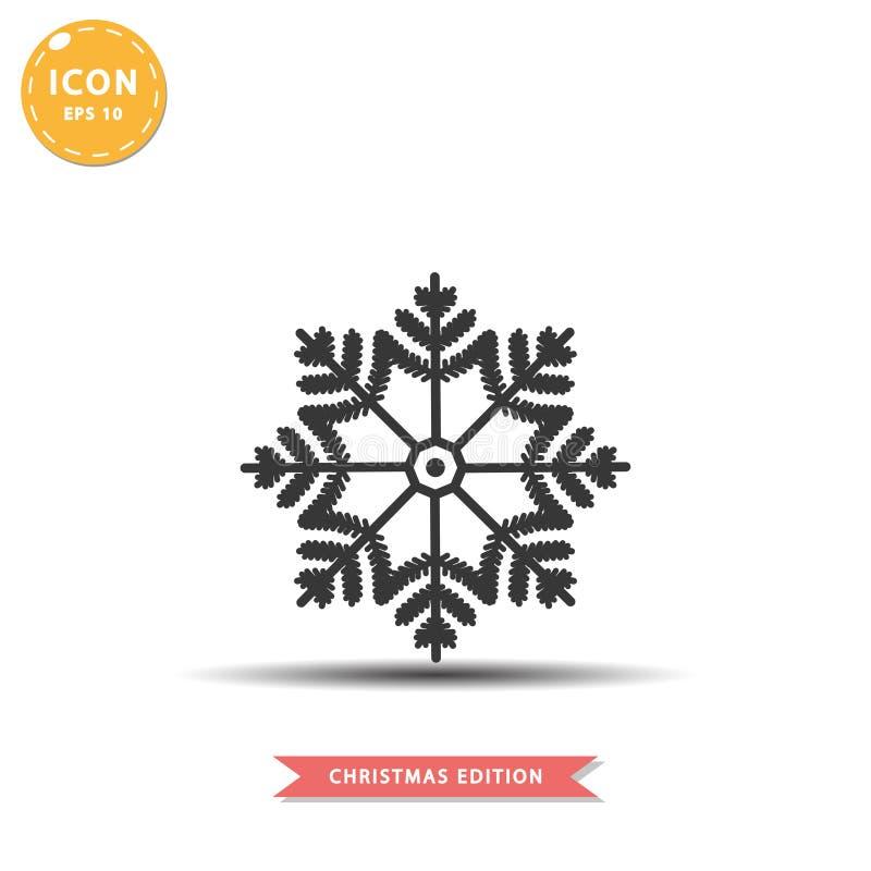 Ejemplo plano simple del vector del estilo del icono del copo de nieve libre illustration
