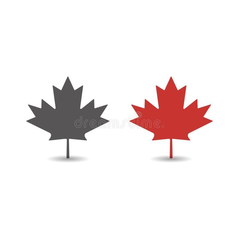 Ejemplo plano simple del vector del estilo del icono rojo de la hoja de arce del otoño ilustración del vector