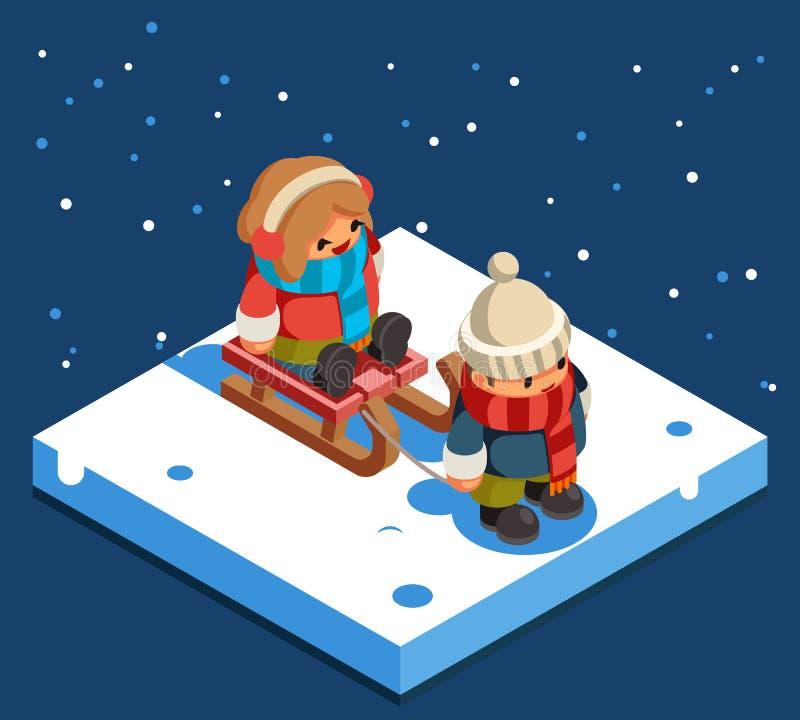 Ejemplo plano sledding del vector del diseño del fondo de la nieve del invierno del trineo de la muchacha del muchacho isométrico ilustración del vector