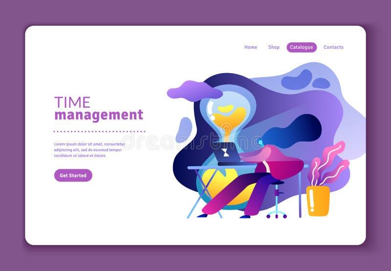 Ejemplo plano sobre la gestión de tiempo eficaz ilustración del vector