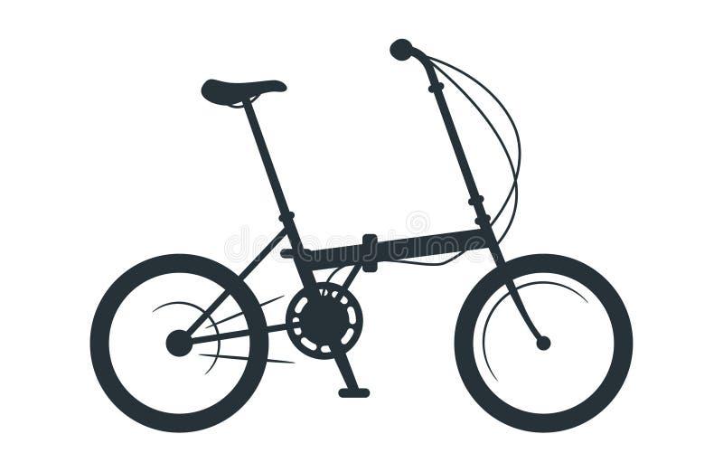 Ejemplo plegable de la silueta del vector de la bicicleta ilustración del vector