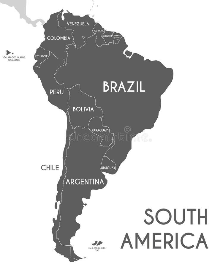 Ejemplo político del vector del mapa de Suramérica aislado en el fondo blanco ilustración del vector
