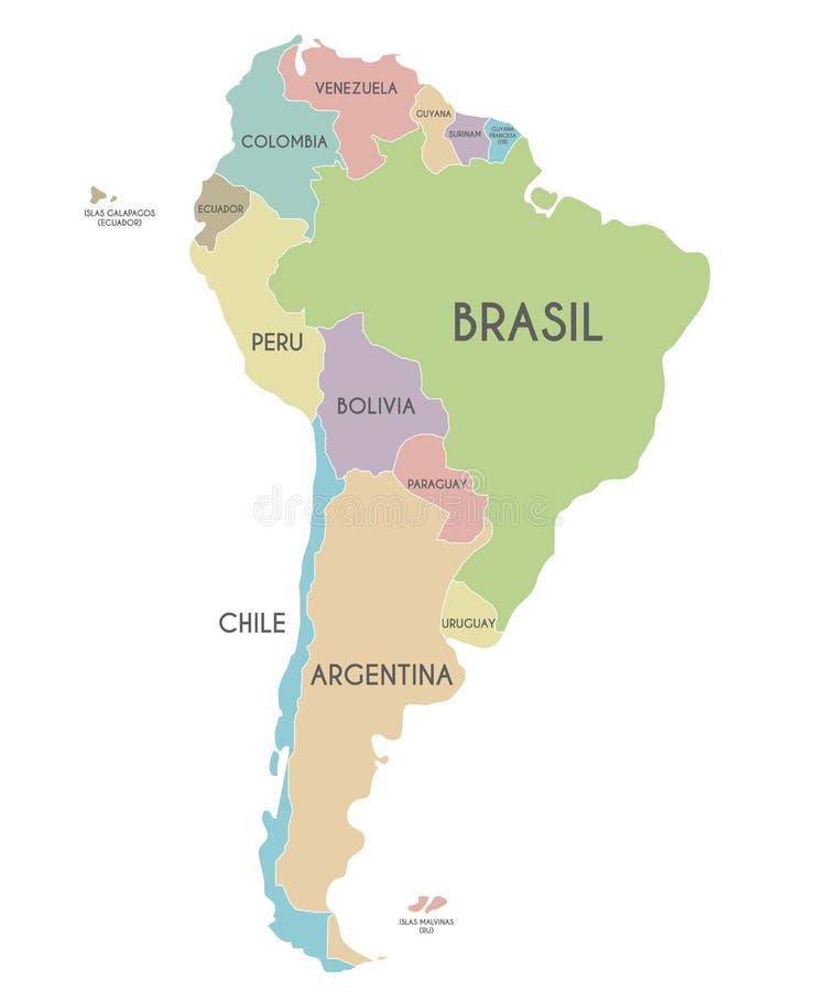 Ejemplo político del vector del mapa de Suramérica aislado en el fondo blanco con nombres de país en español libre illustration