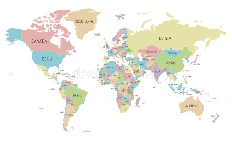 Ejemplo político del vector del mapa del mundo aislado en el fondo blanco libre illustration