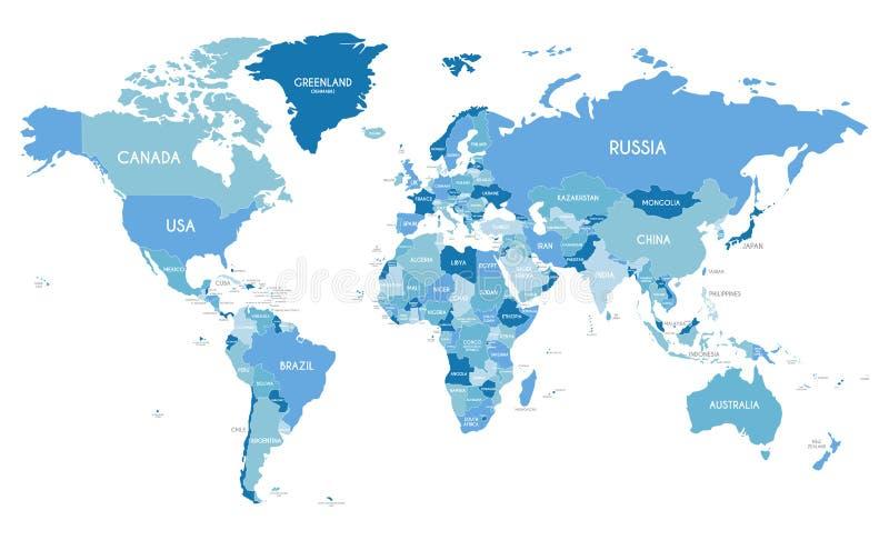 Ejemplo político del vector del mapa del mundo con diversos tonos del azul para cada país stock de ilustración