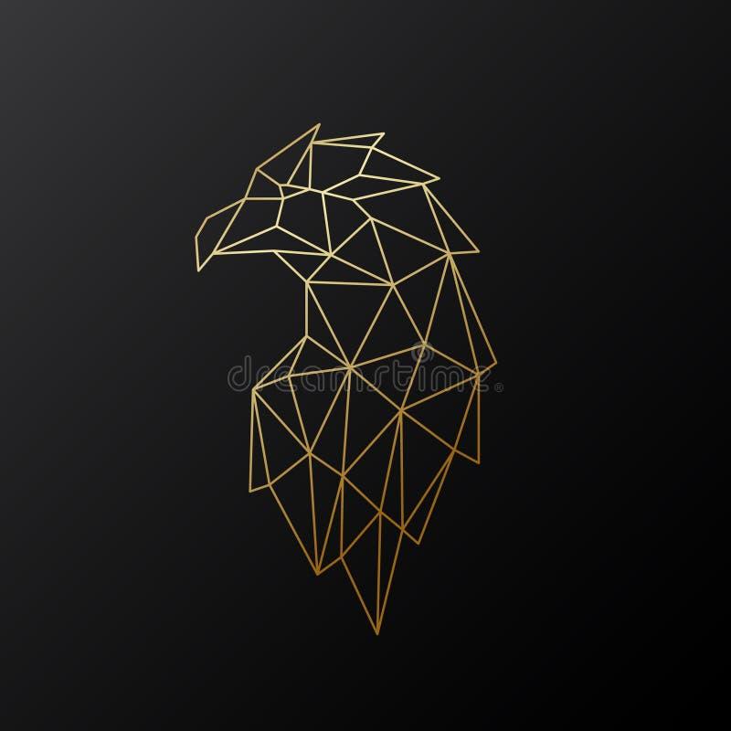 Ejemplo poligonal de oro de Eagle aislado en fondo negro stock de ilustración